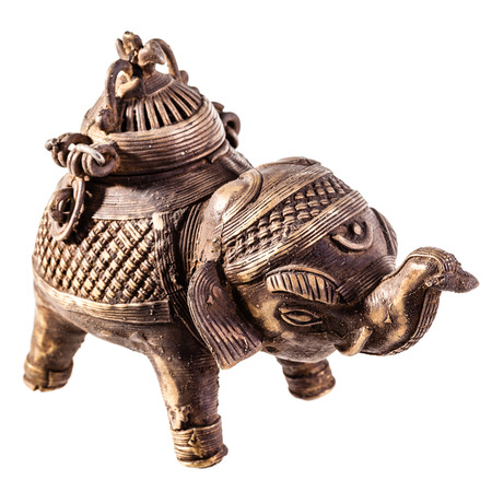 ancient elephant: an ancient elephant shaped indian censer isolated over a white background