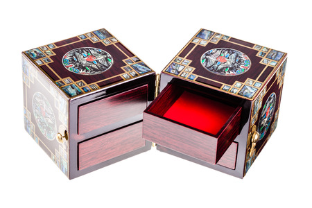 lacquered: a luxurious chinese jewelry box or casket isolated over a white background