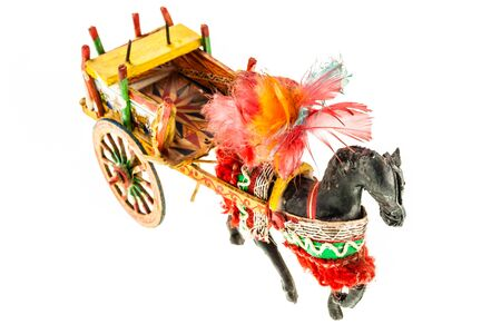 horse cart: Folkloristic  traditional sicilian horse cart isolated over a white background Stock Photo