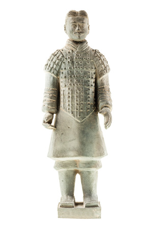 quin: a chinese Xian terracotta warrior isolated over a white background