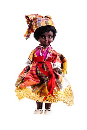 muneca vintage: una muñeca hermosa de la vendimia aislado en un fondo blanco Foto de archivo