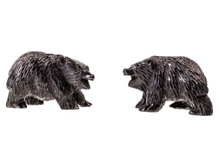 kodiak: two wooden bear cub figurine isolated over a white background Stock Photo