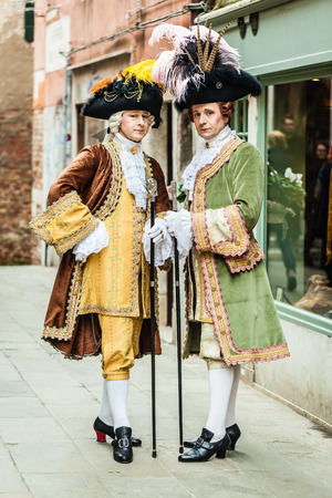 portrait of two medieval aristocratic noblemans in Venice Stock Photo