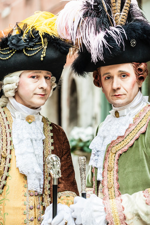 the medieval: portrait of two medieval aristocratic noblemans in Venice Stock Photo