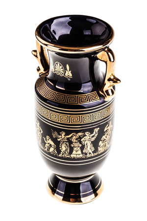 decorative objects: a precious gilded greek vase isolated over a white background Stock Photo