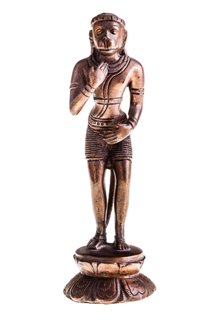 god figure: a bronze statuette of Hanuman, a hindu god, isolated over a white background Stock Photo