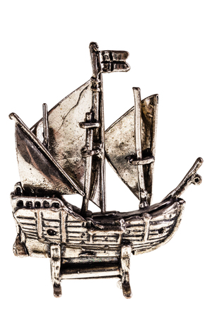 nina: Silver reproduction of the columbus ship Nina isolated over a white background