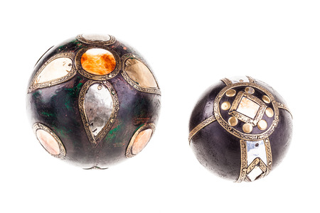 fantasy: two strange steampunk fantasy decor spheres isolated over a white background Stock Photo