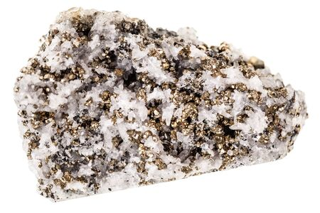 crystalline gold: Mineral pyrite in quartz, known as Fools gold, isolated over a white background