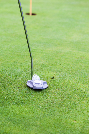 putter: a golf player aiming for the hole on the green with a putter