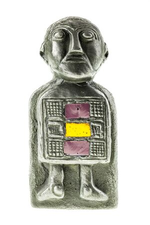 pagan: an ancient pagan statuette isolated over a white background