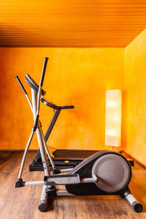 crosstrainer: a small comfy home gym with a tread mill and an ellyptical machine