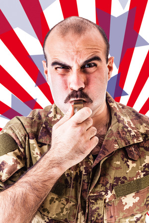 stereotypical: a soldier or drill sergeant blowing a whistle over a striped american backdrop