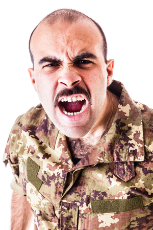 a soldier wearing camouflage clothing isolated over a white background