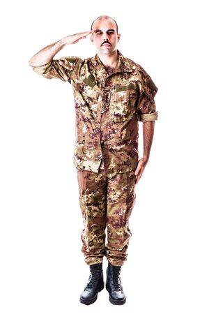 military draft: a young soldier with camouflage uniform isolated over a white background
