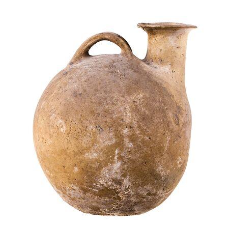 daunia: Daunian terracotta askos, Subgeometric style isolated over a white background Stock Photo