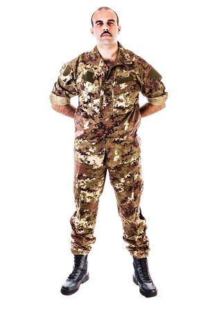 soldier: a soldier wearing camouflage clothing isolated over a white background