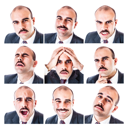 collage caras: una colección de diferentes expresiones faciales de un hombre de negocios aislados en un fondo blanco
