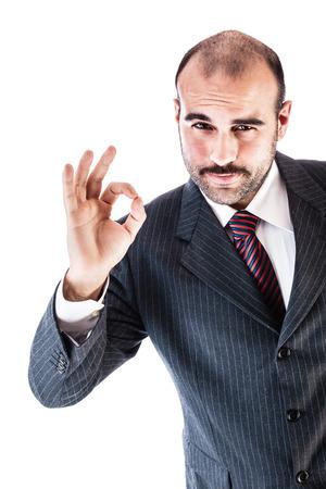 白地に分離されたスーツを着て上品な実業家の肖像画