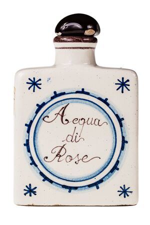 delftware: an italian decorated Rose Water bottle isolated over a white background