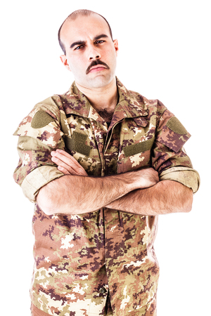 infantryman: a soldier wearing camouflage clothing isolated over a white background