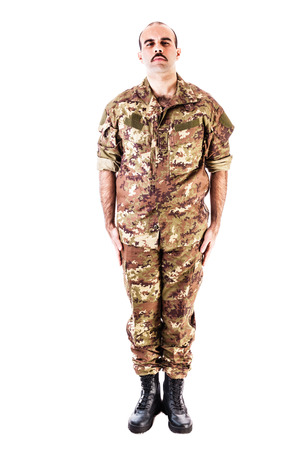 ei: a soldier wearing camouflage clothing isolated over a white background