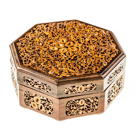 inlay: a intricate inlay wooden japanese box isolated over a white background