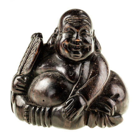 goodluck: a smiling fat wooden buddha statuette isolated over a white background