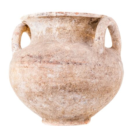 daunia: Daunian subgeometric duble-handle pot isolated over a white background