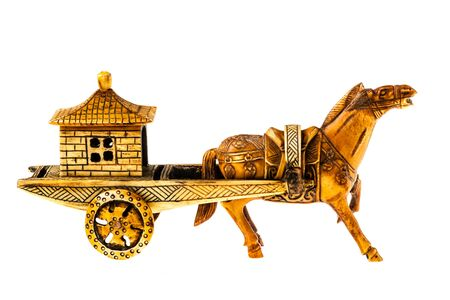 imperialism: an ancient chinese war chariot isolated over a white background
