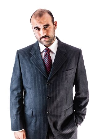 loony: portrait of a classy businessman wearing a suit isolated over a white background