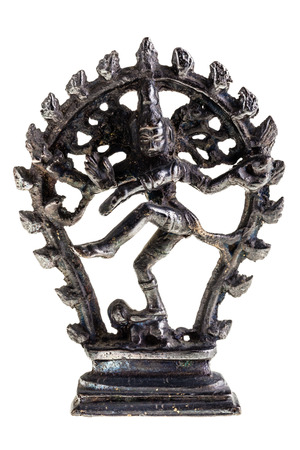bharatanatyam dance: Statue of indian hindu god dancing Shiva Nataraja. isolated on white background