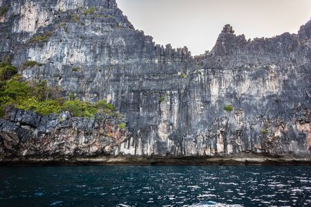 ridge of wave: majestic rock formation in phi phi island, in the andaman sea, Thailand Stock Photo
