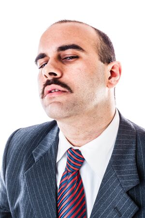 delusion: portrait of a bored businessman isolated over a white background