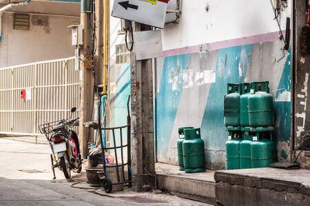 ghetto: a dirty alley in a bangkok city ghetto, thailand Stock Photo