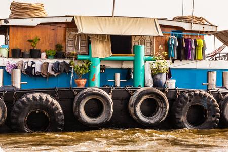 chao praya: a very big barge floating on Chao Praya River in Bangkok, Thailand Stock Photo