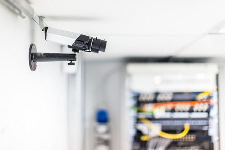 a cctv security surveillance camera in a server room Foto de archivo