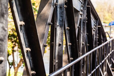 corrosion: Steel frame structure of the famous Bridge on the river kwai, Kanchanaburi province,Thailand