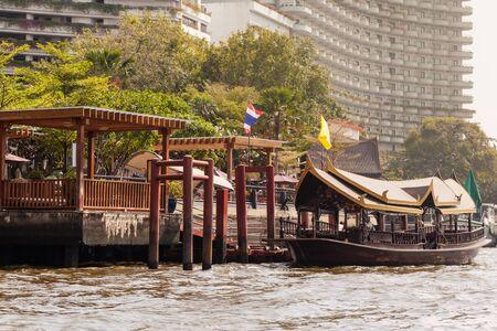 praya: view from a boat navigating the chao praya river in bangkok city, thailand