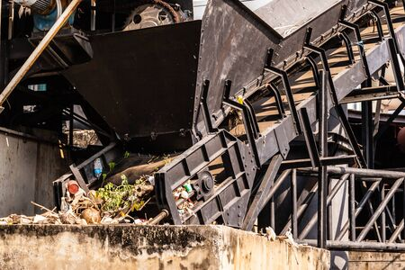 conveyor belt: a garbage disposal plant with a conveyor belt in Thailand