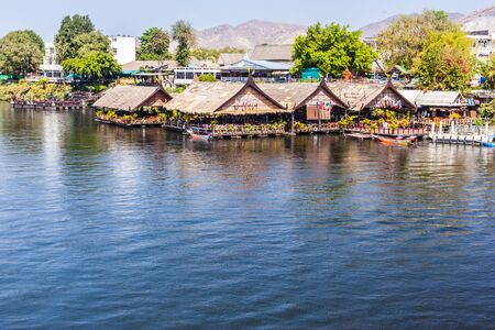 vibrant cottage: Landscape at the River Kwai, Kanchanaburi, Thailand near the famous bridge used in World War II