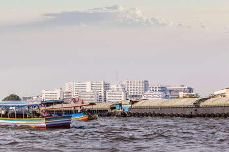 praya: a very big barge floating on Chao Praya River in Bangkok, Thailand Stock Photo