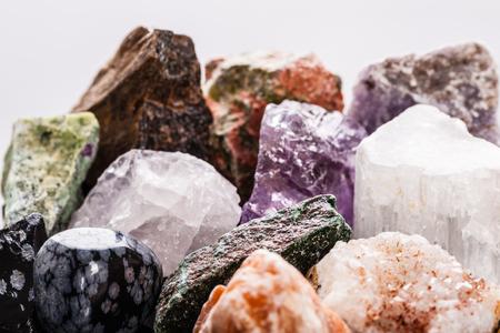 semi precious: close up shot of a heap of different semi precious minerals
