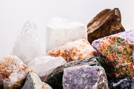metaphysical: close up shot of a heap of different semi precious minerals