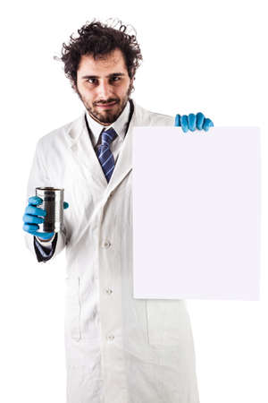 underpaid: a doctor or researcher with a white lab coat holding a blank sign and a tin can isolated over white