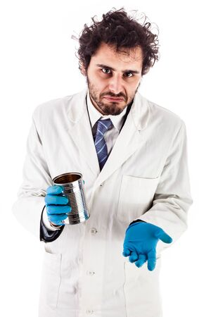 underpaid: a doctor or researcher with a white lab coat holding a tin can begging for money isolated over white