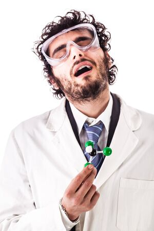a young researcher in lab coat holding the chloroform molecular structure model getting dizzy isolated over a white background
