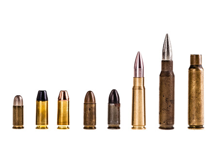full metal jacket: different type of bullets isolated over a white background