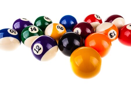pool balls: a lot of pool balls isolated over a white background