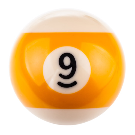 9 ball: a single pool or snooker ball isolated over a white background